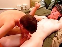 Straight Boys Playing - After getting their cocks out for some jerking these sexy straight boys try a little something else